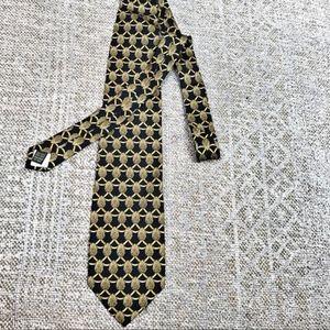 Valentino men's silk tie black gold print